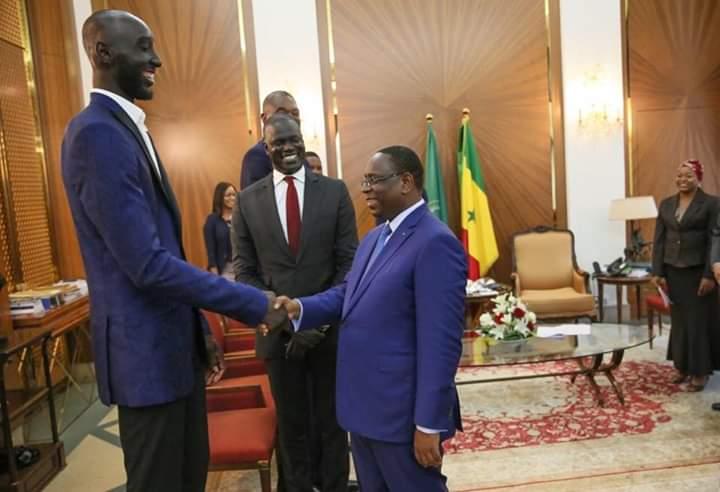 Tacko Fall reçu par le président Macky Sall, le 30 juillet 2019