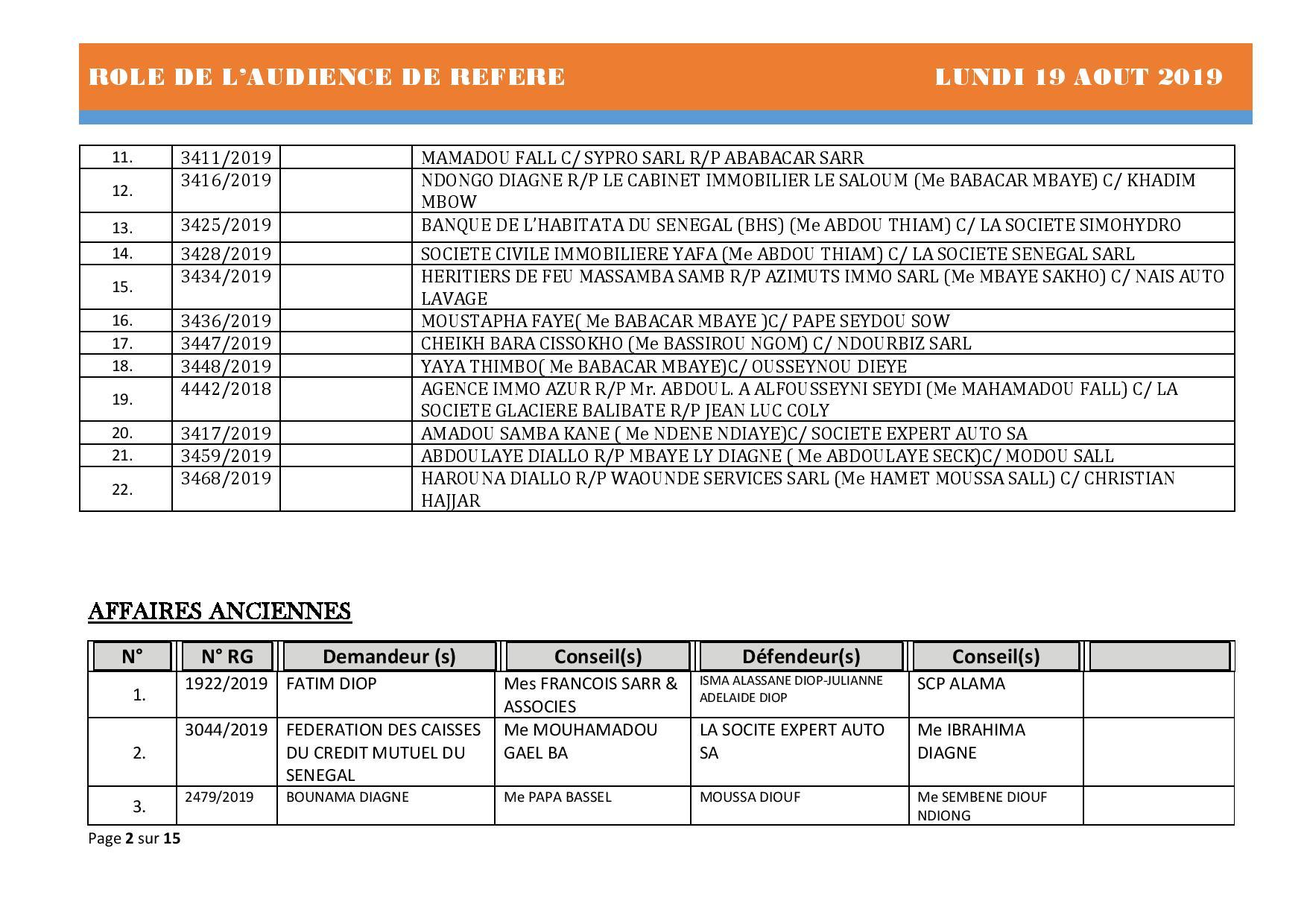 Tribunal du Commerce: Audiences des Référés de ce lundi 19 août