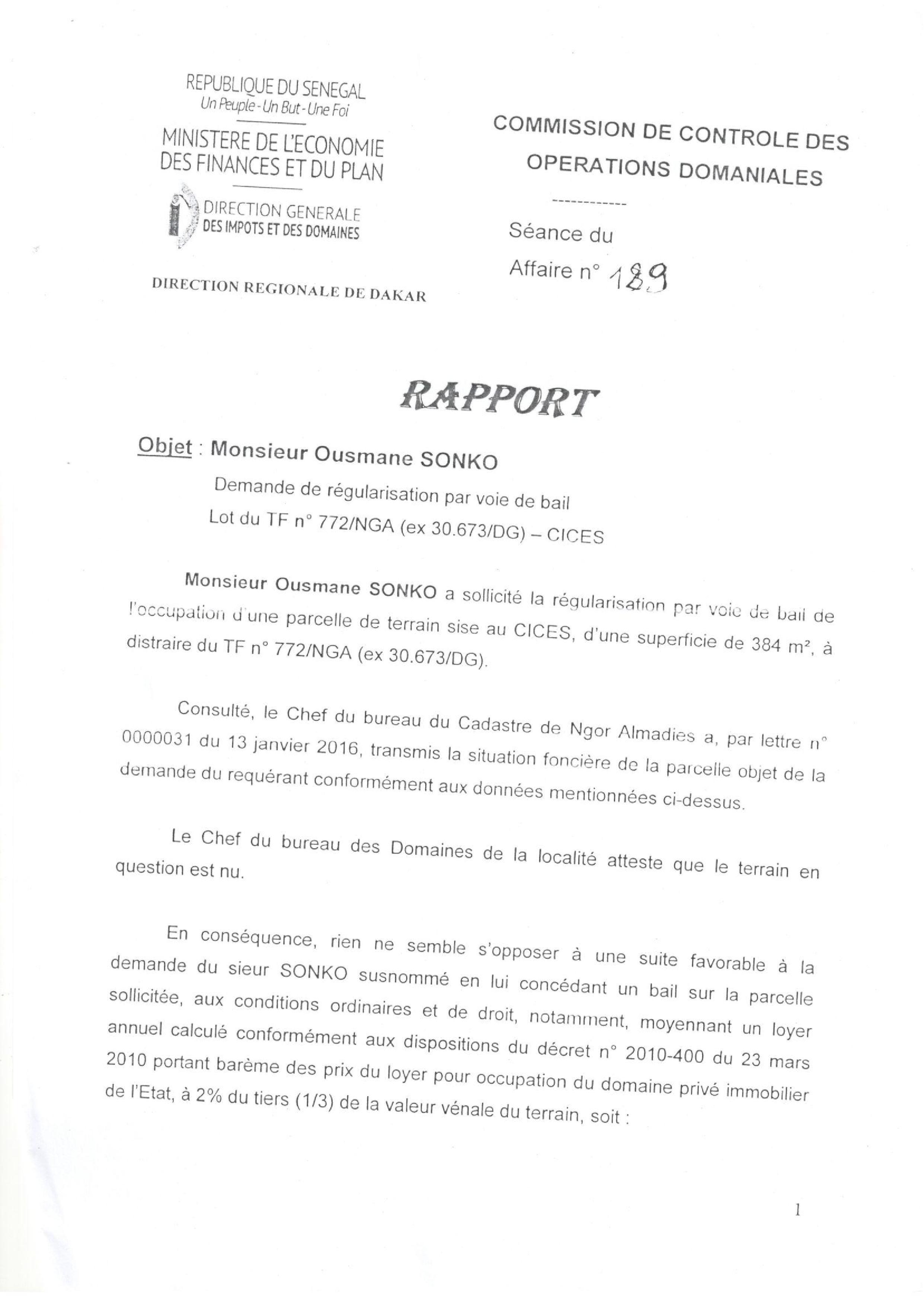 Demande de régularisation par voie de bail : Les parcelles du lotissement du CICES, 13 592 NGA (Ex TF 6226 DG), 772/NGA ex (30 673/DG) trahissent Ousmane Sonko