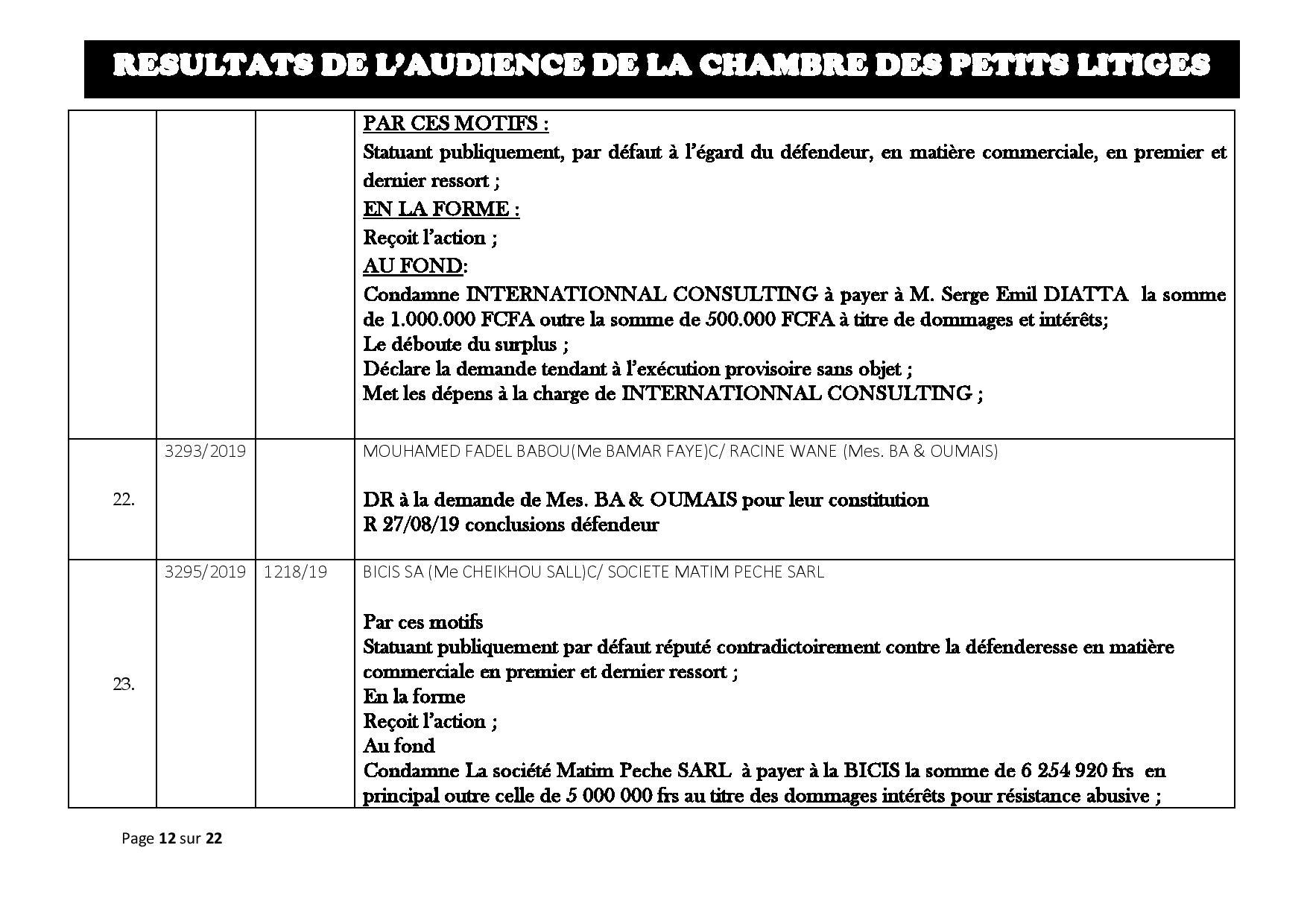 Tribunal du Commerce: Délibérés des Audiences du mardi 20 août 2019