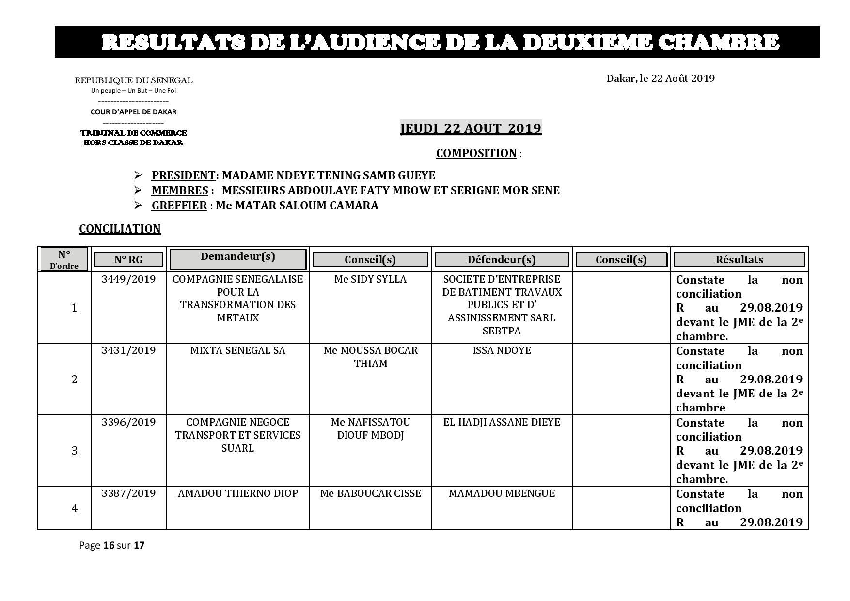 Tribunal du Commerce: Délibérés des Audiences de la 2e Chambre du mercredi 21 août