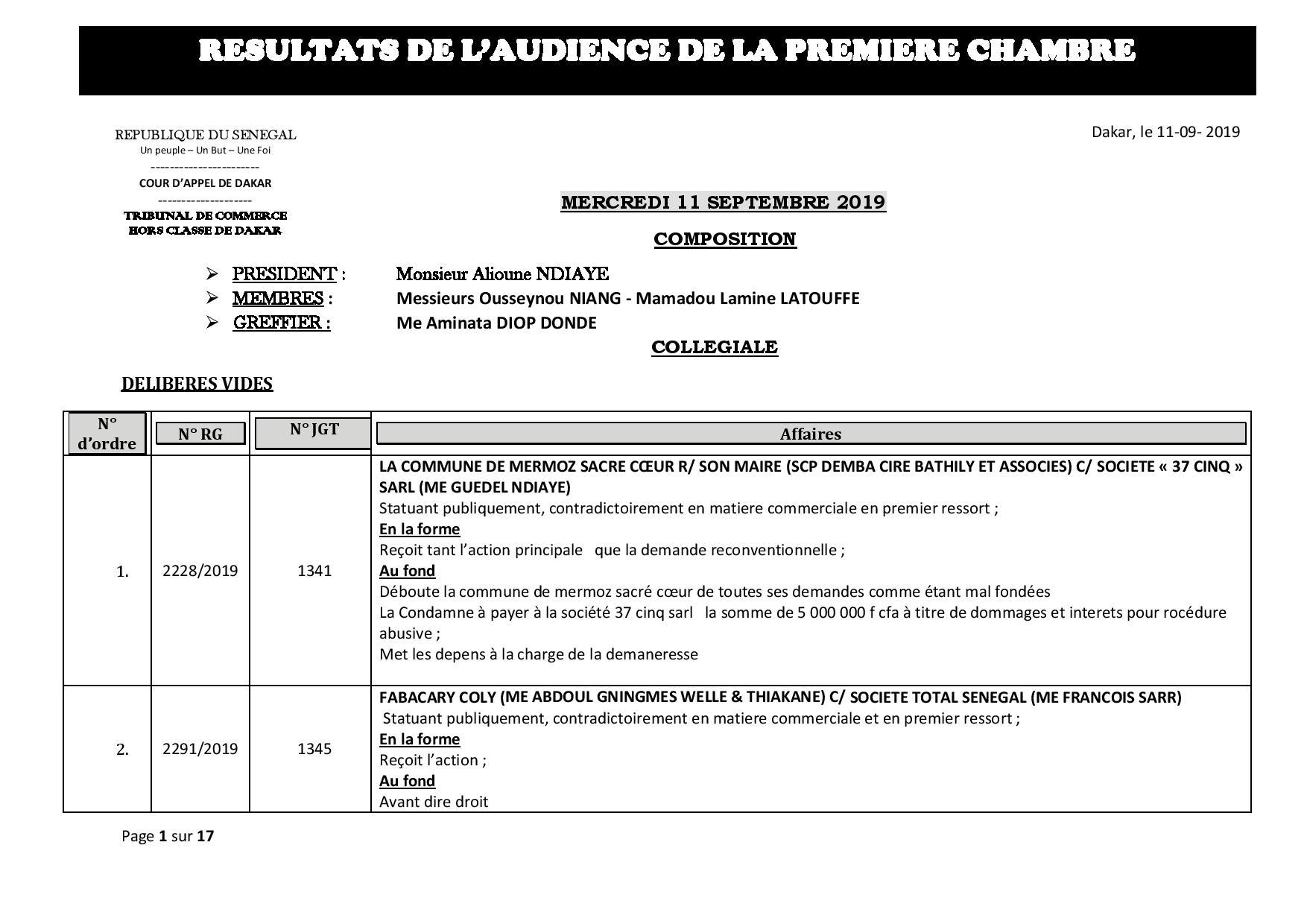 Tribunal du Commerce: Délibérés des Audiences du mercredi 11 septembre