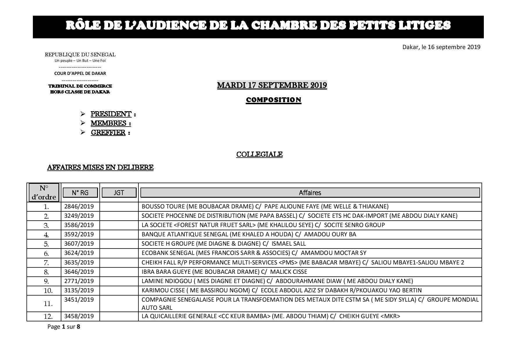 Tribunal du Commerce: Audiences de la Chambre des Petits Litiges de ce mardi 17 septembre