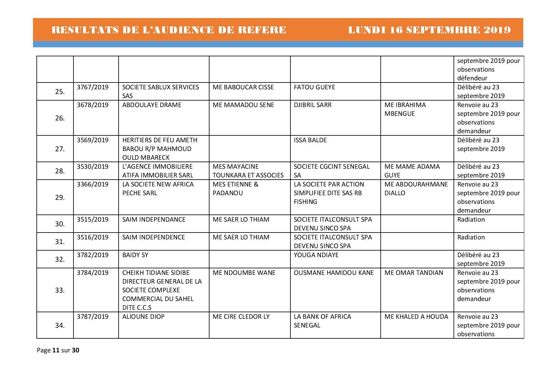 Tribunal du Commerce: Délibérés des Audiences du lundi 16 septembre