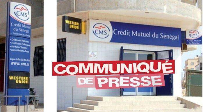 CREDIT MUTUEL DU SENEGAL - COMMUNIQUE DE PRESSE