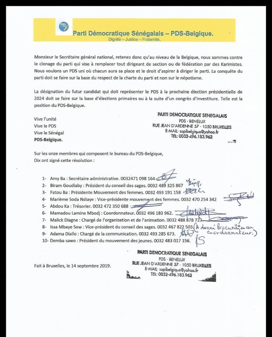 Résolution : PDS Belgique demande l'arrêt du clonage du parti