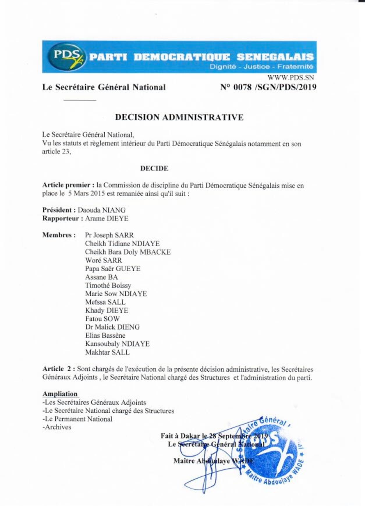 Commission de discipline du PDS et FRN:  Voici les nouvelles décisions de Me Abdoulaye Wade (documents)