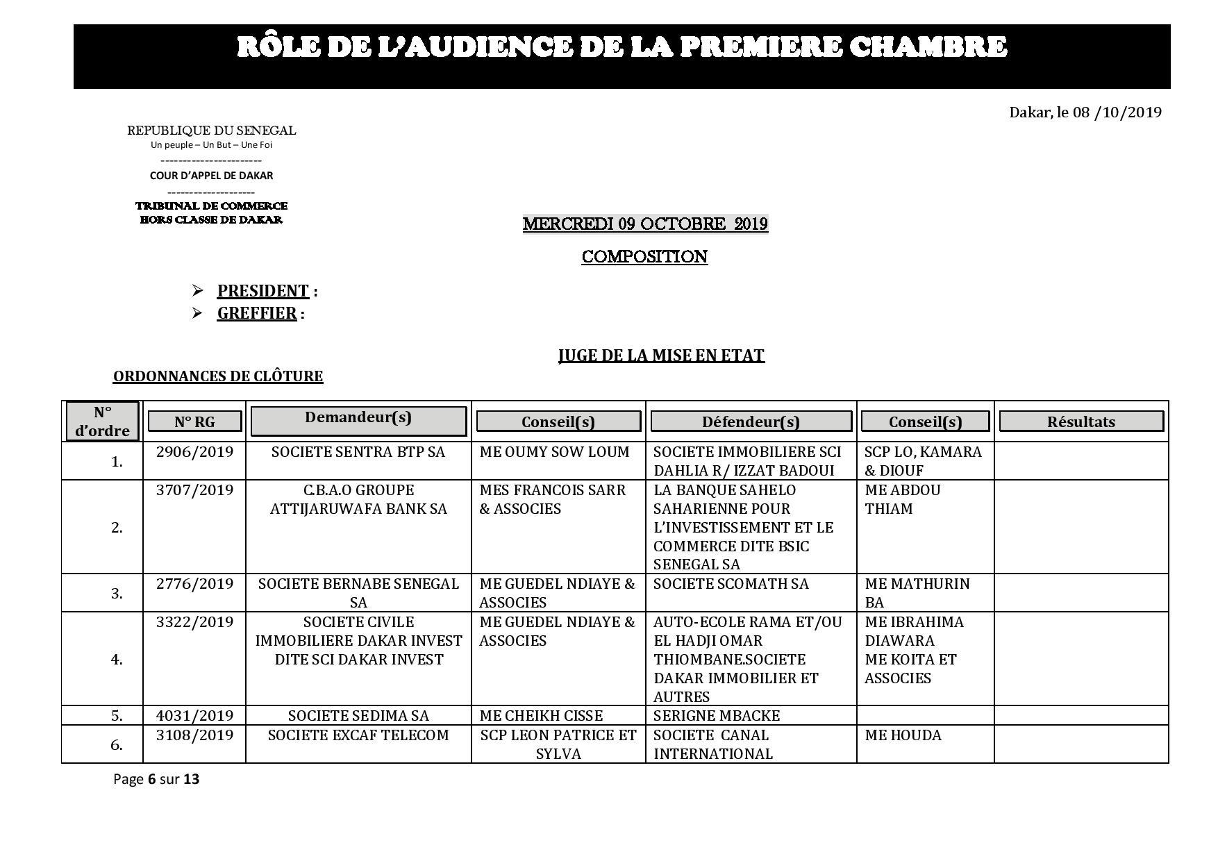 Tribunal du Commerce: Audiences de la Première Chambre de ce mercredi 9 octobre