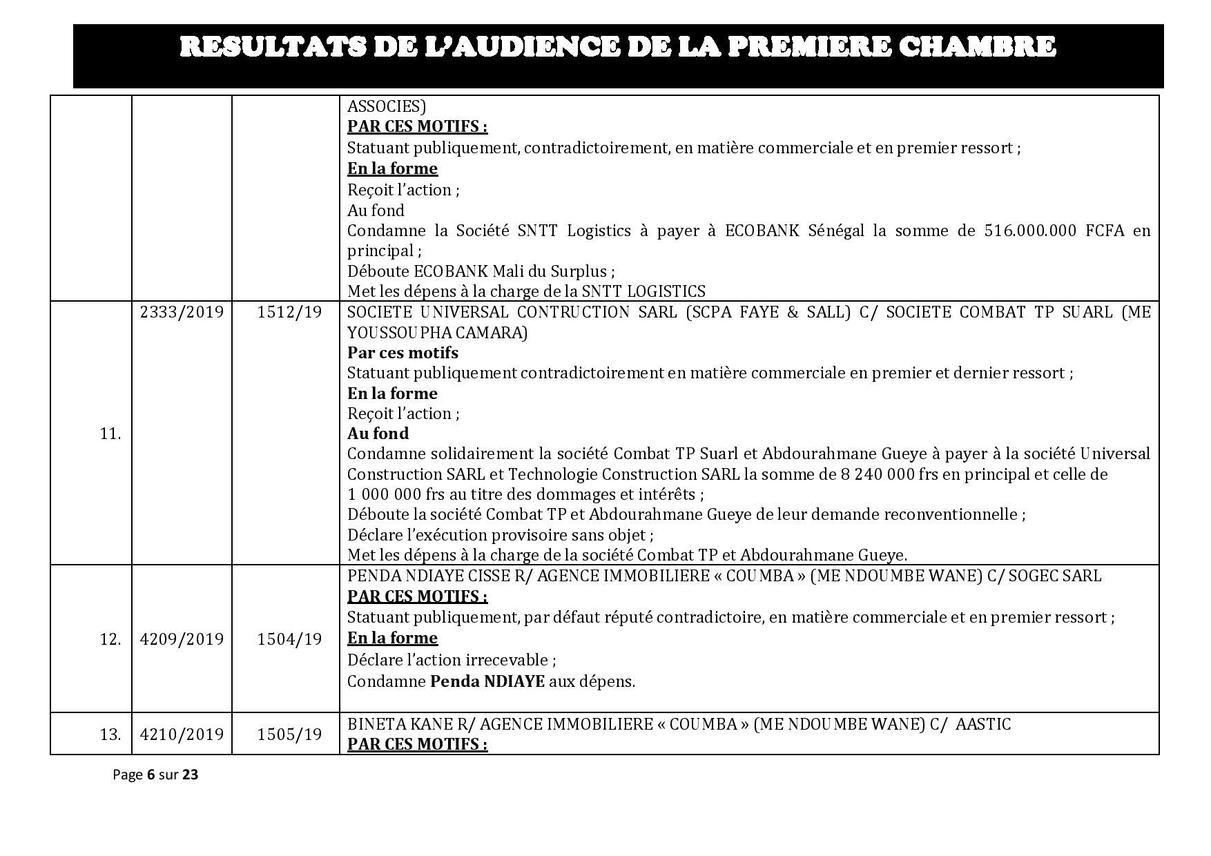 Tribunal du Commerce: Délibérés des Audiences du mercredi 16 octobre