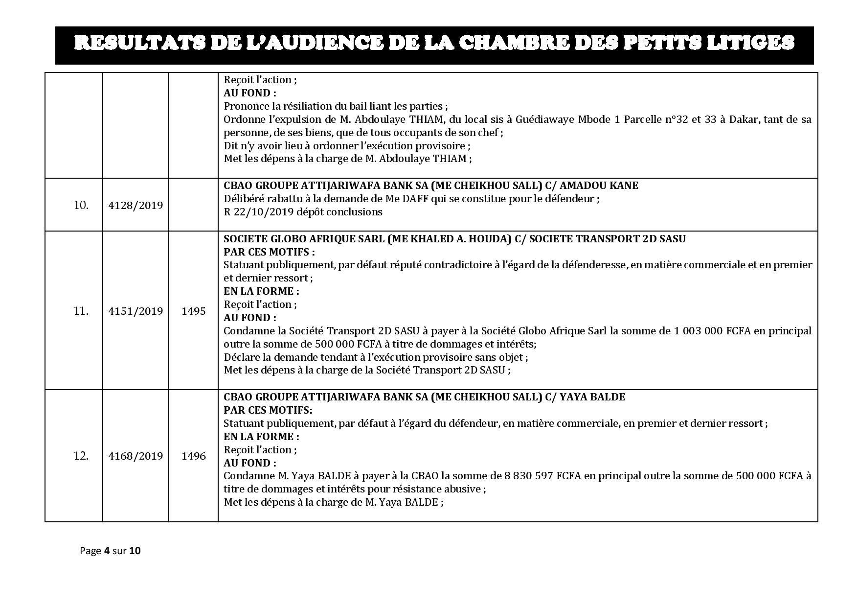 Tribunal du Commerce: Délibérés des Audiences de la Chambre des Petits Litiges du mardi 15 octobre