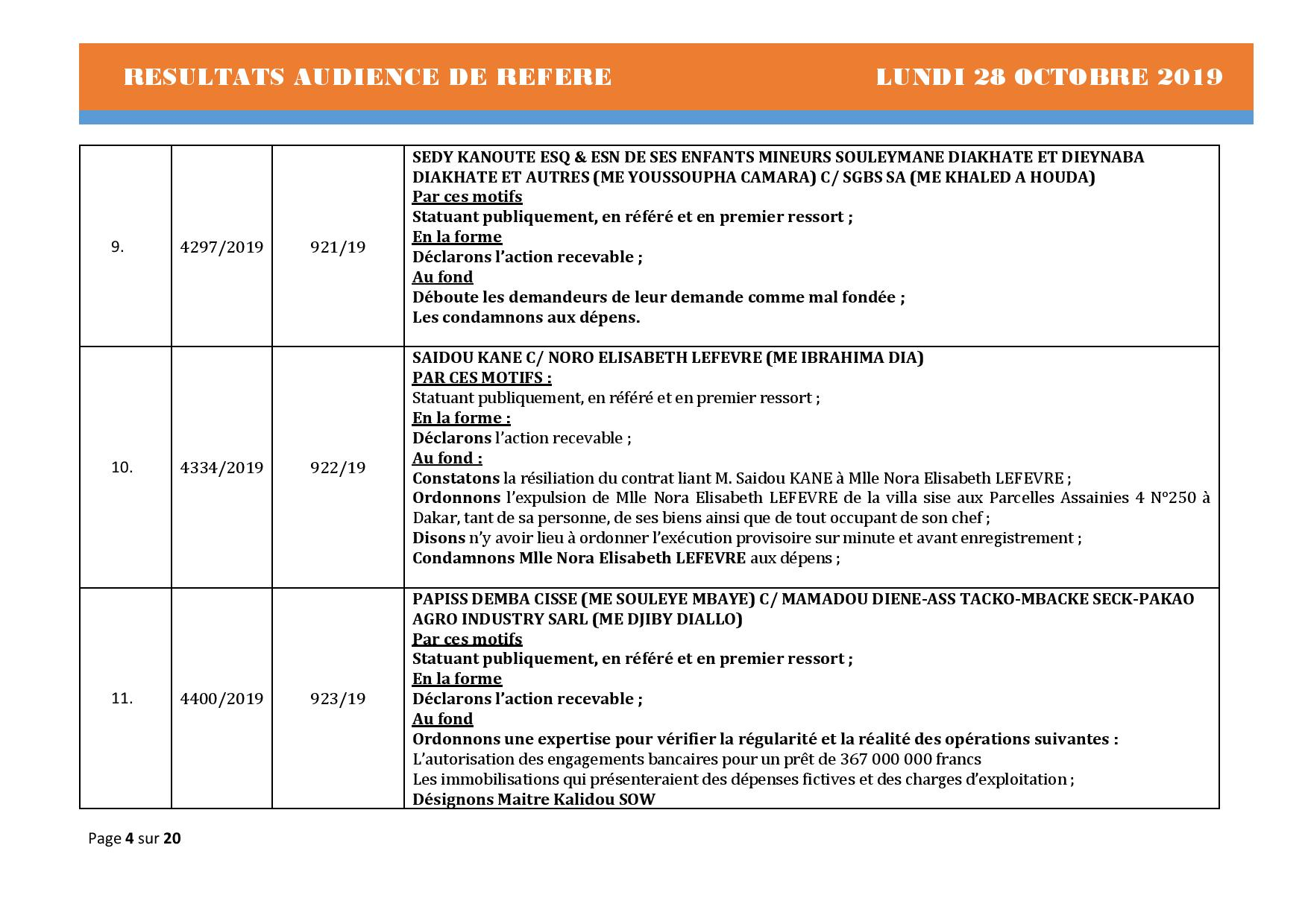 Tribunal du Commerce: Délibérés des Audiences de Référés du lundi 28 octobre
