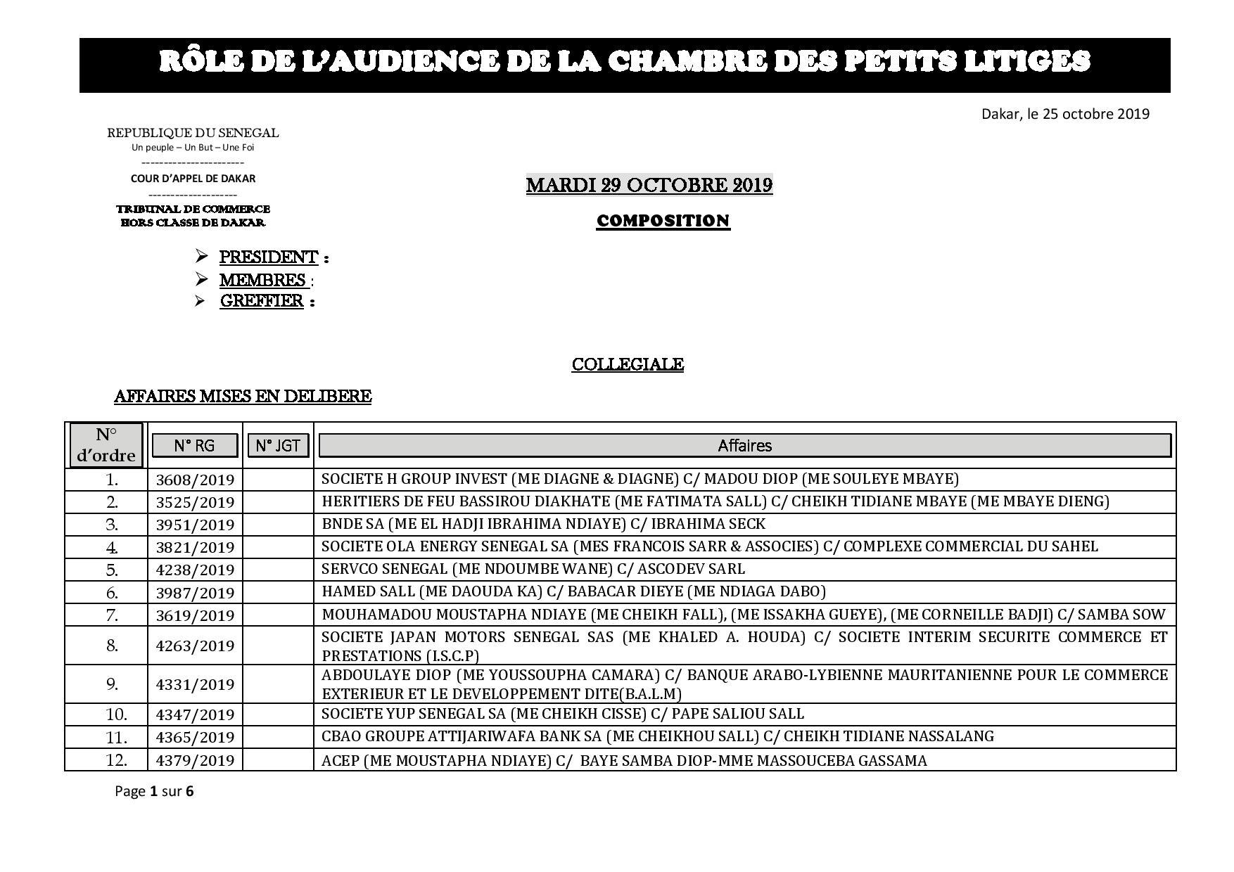 Tribunal du Commerce: Audiences de la Chambre des Petits Litiges de ce mardi 29 octobre