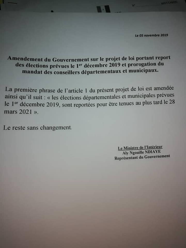Elections Locales: Aly Ngouille Ndiaye retient le mois de mars 2021
