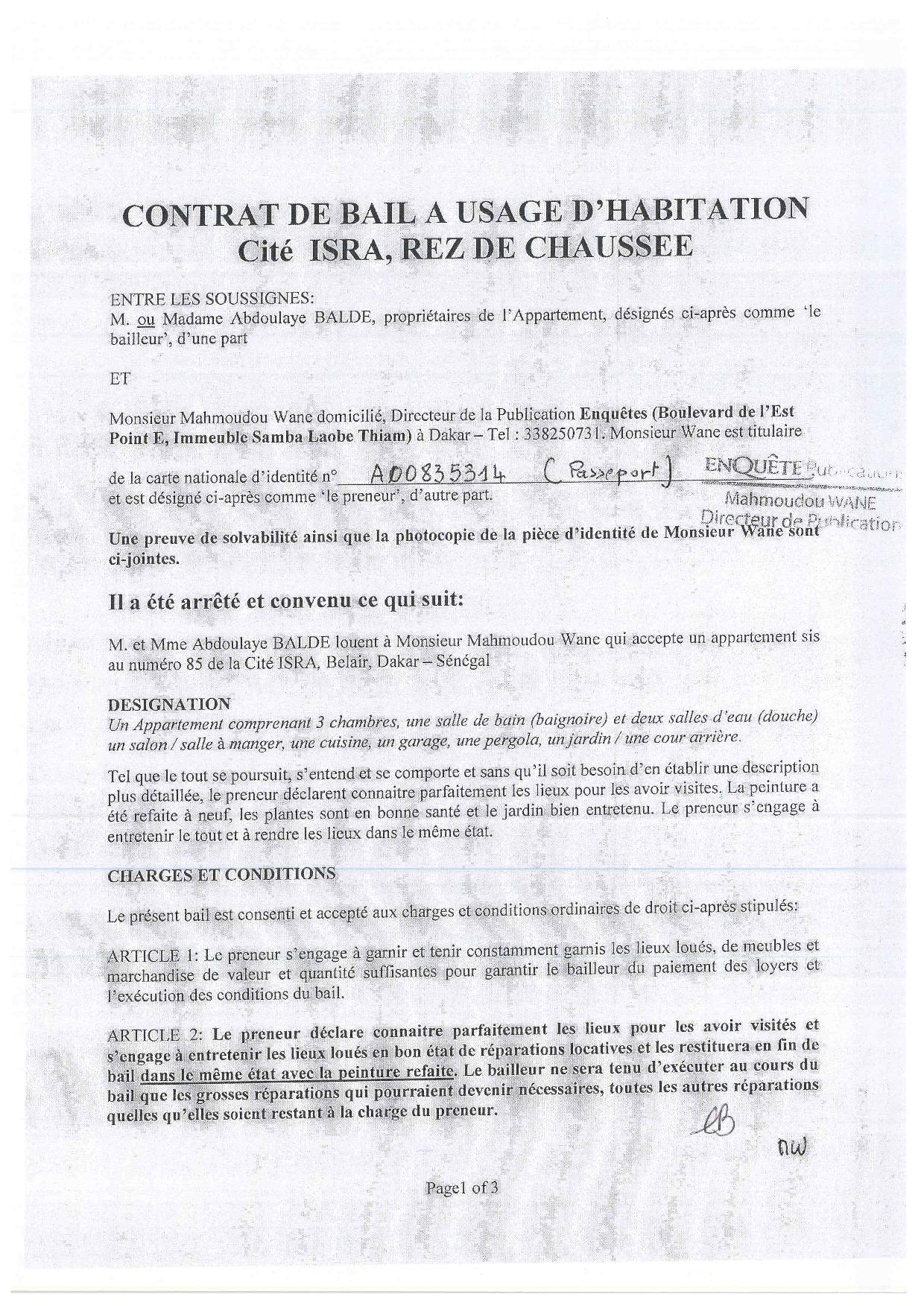 Logement de Mamaudou Wane à Hann Marinas par Matar Cissé : Ces documents qui démentent Adama Gaye
