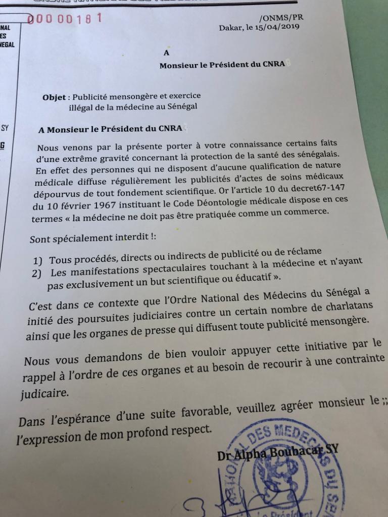 Publicité mensongère et exercice illégal de la médecine au Sénégal...: L'ordre des médecins saisit la justice et demande l'appui du CNRA