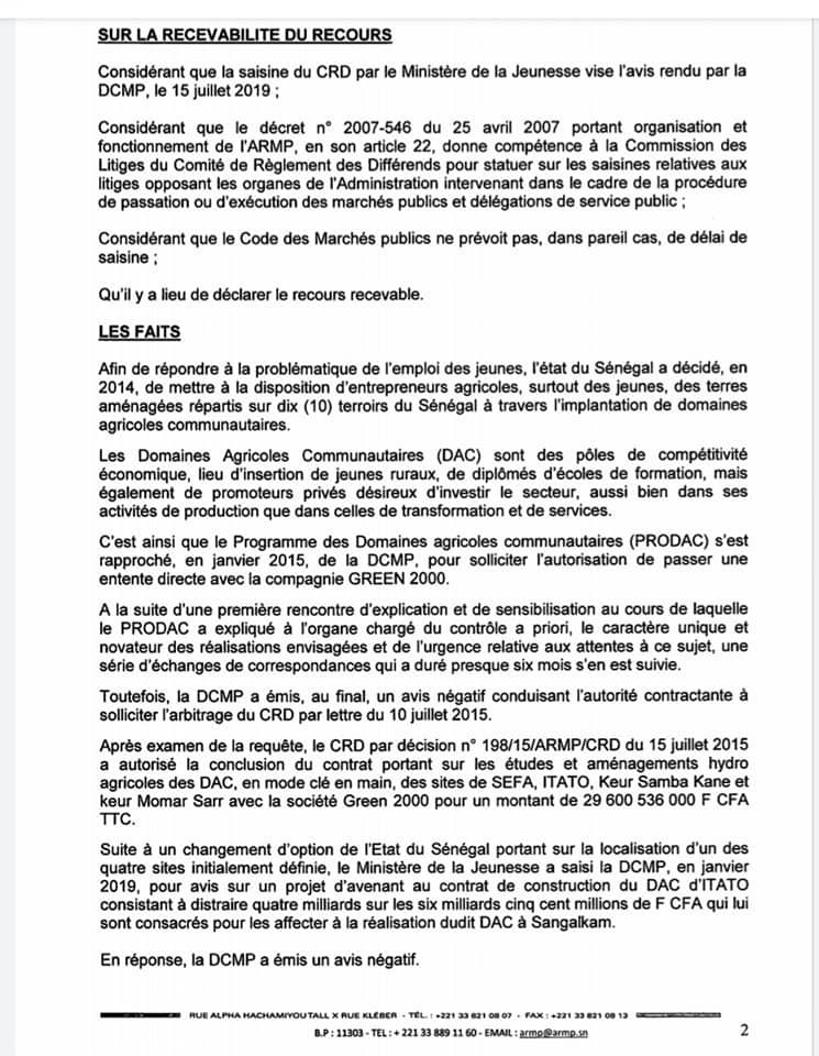 PRODAC - GREEN 2000: Comment l'Armp a couvert un gré à gré de 3 milliards de FCfa (Documents)