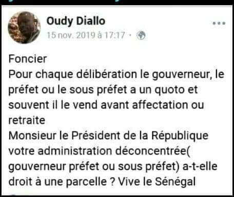 Kédougou: l'environnementaliste Oudy Diallo arrêté après cette publication sur Facebook