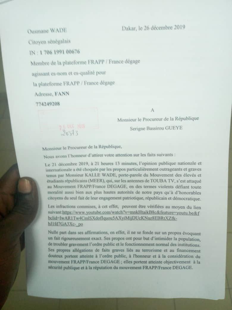 Plainte contre le porte-parole du Meer: le mouvement Frapp est passé à l'acte