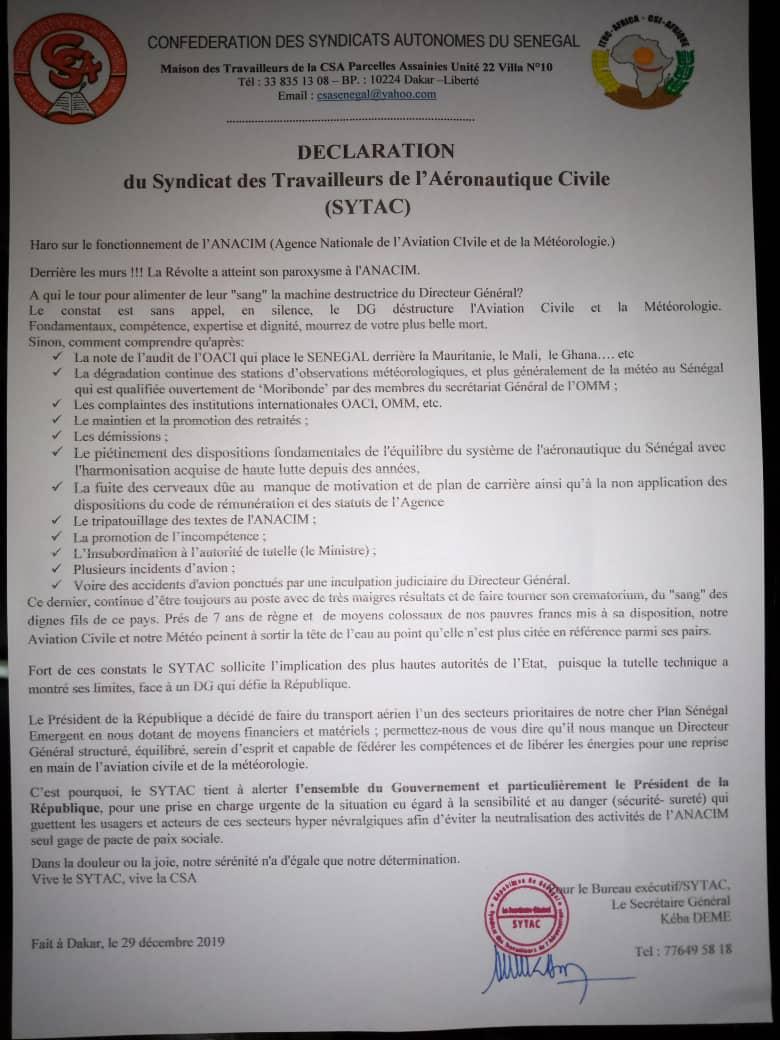 Vents troubles à l'Anacim: le Syndicat des travailleurs réclame la tête de leur DG Maguéye Maram Ndao