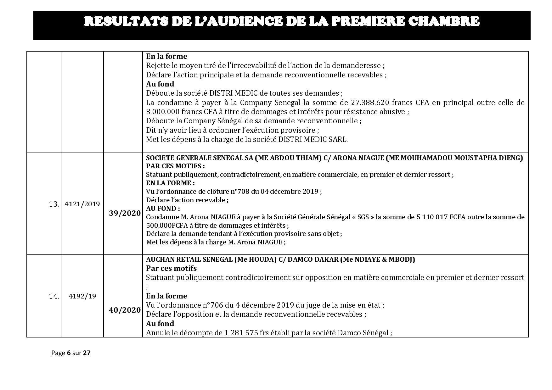 Tribunal du Commerce: Délibérés des Audiences de la Première Chambre du 8 janvier