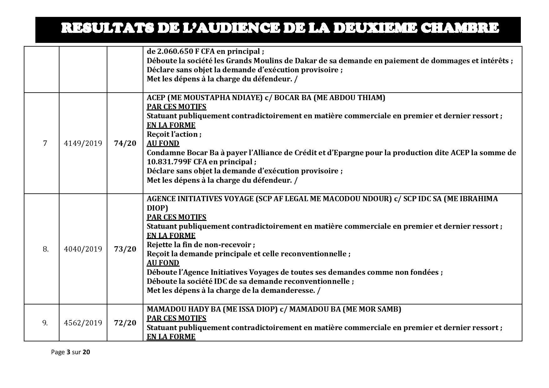 Tribunal du Commerce: Délibérés des Audiences de la 2e Chambre du jeudi 16 janvier