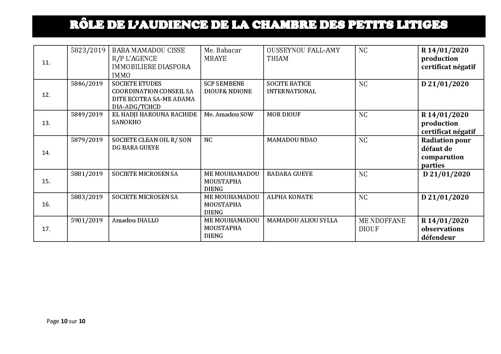 Tribunal du Commerce: Délibérés des Audiences du mardi 7 janvier