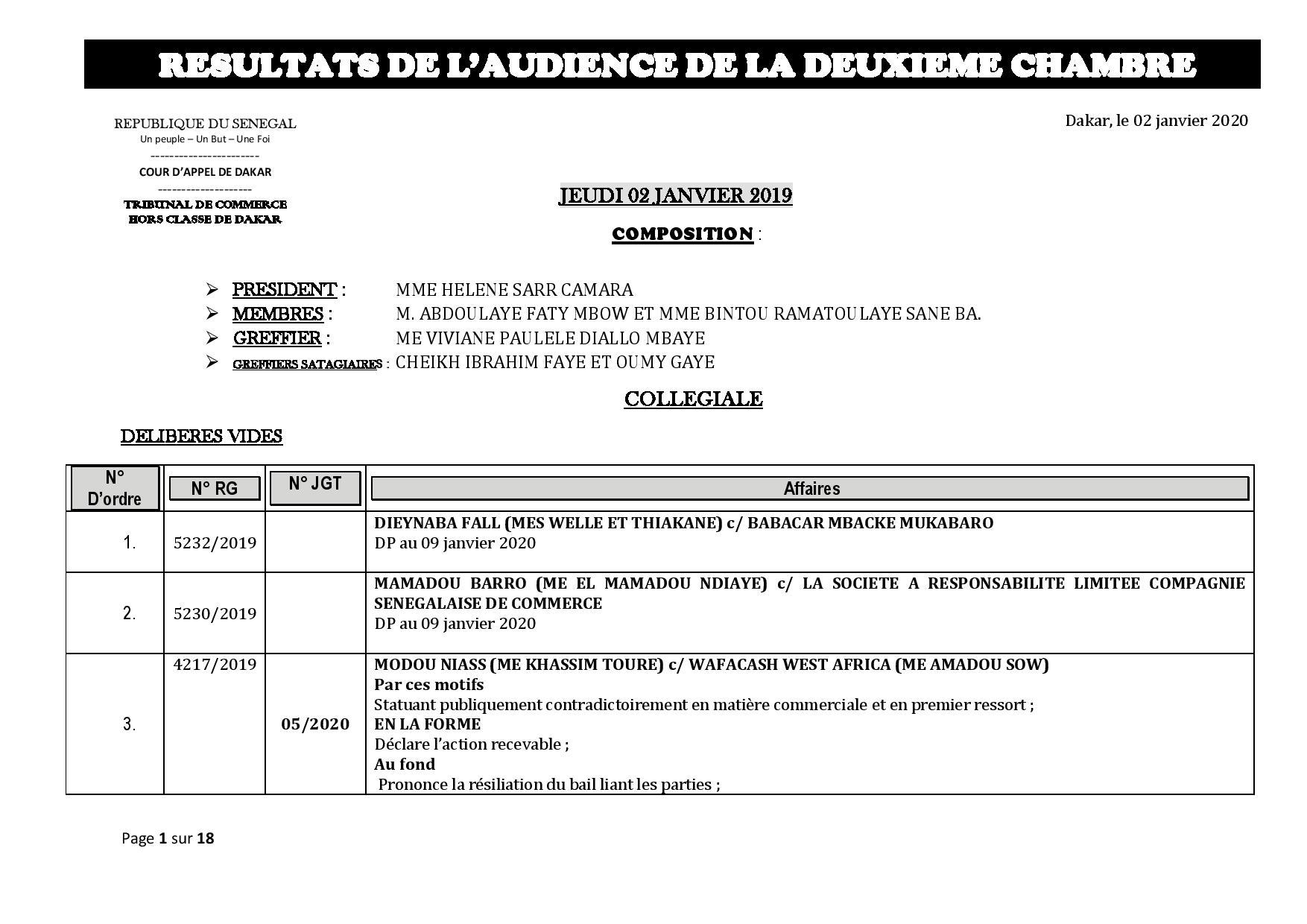 Tribunal du Commerce: Délibérés des Audiences de la 2e Chambre du jeudi 2 janvier