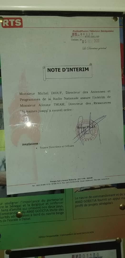 RTS: Racine Talla cède à la pression du personnel et limoge le DRH