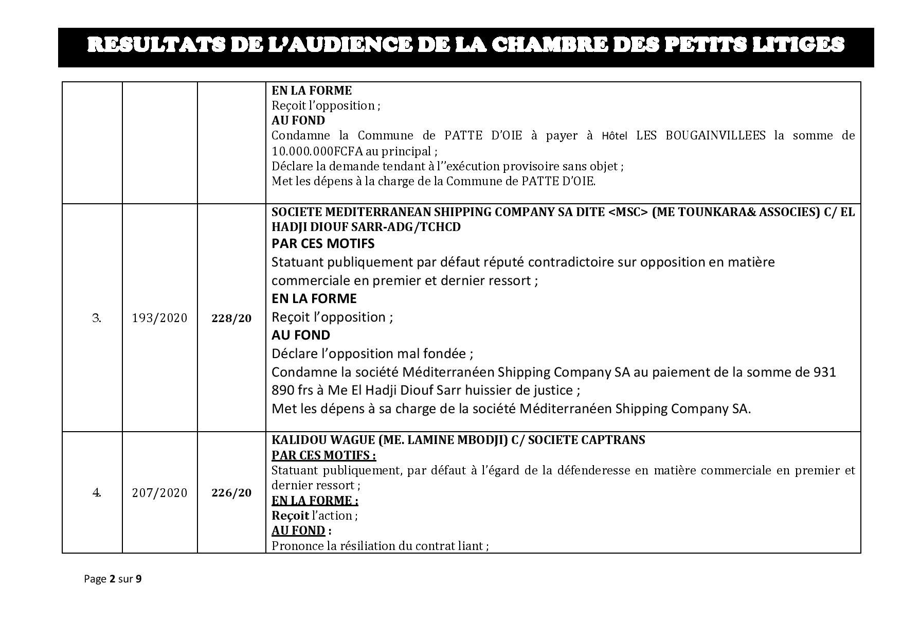 Tribunal du Commerce: Délibérés des Audiences de la Chambre des Petits Litiges du mardi 11 février