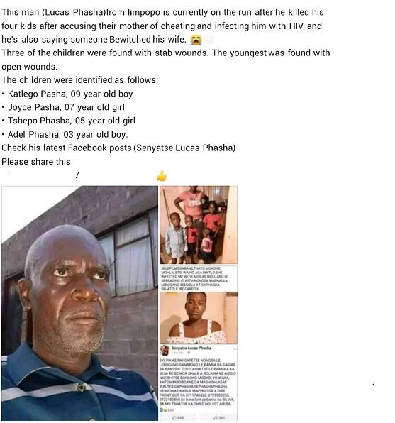 Il poignarde ses 4 enfants à mort après avoir accusé leur mère de l'avoir infecté du VIH