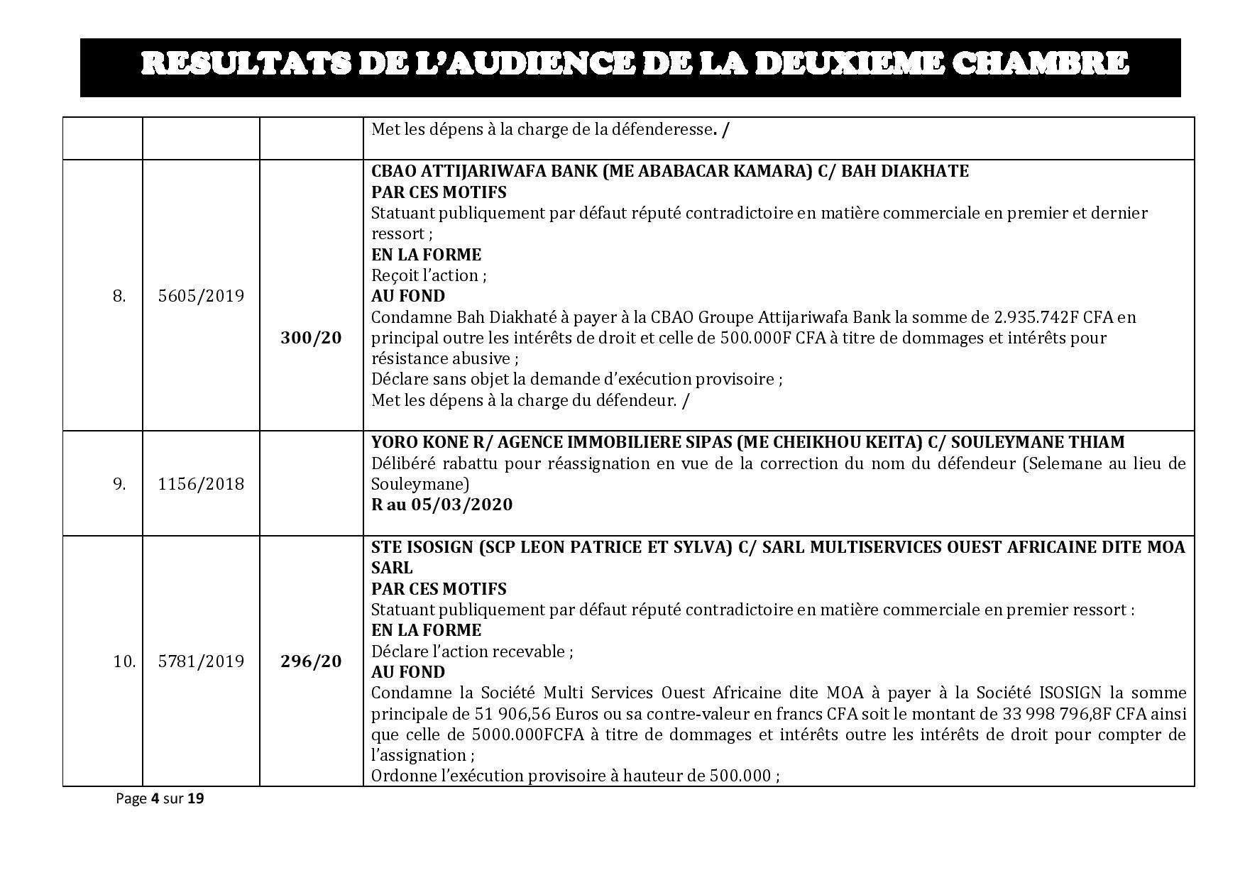 Tribunal du Commerce: Délibérés des Audiences de la 2e Chambre du jeudi 20 février