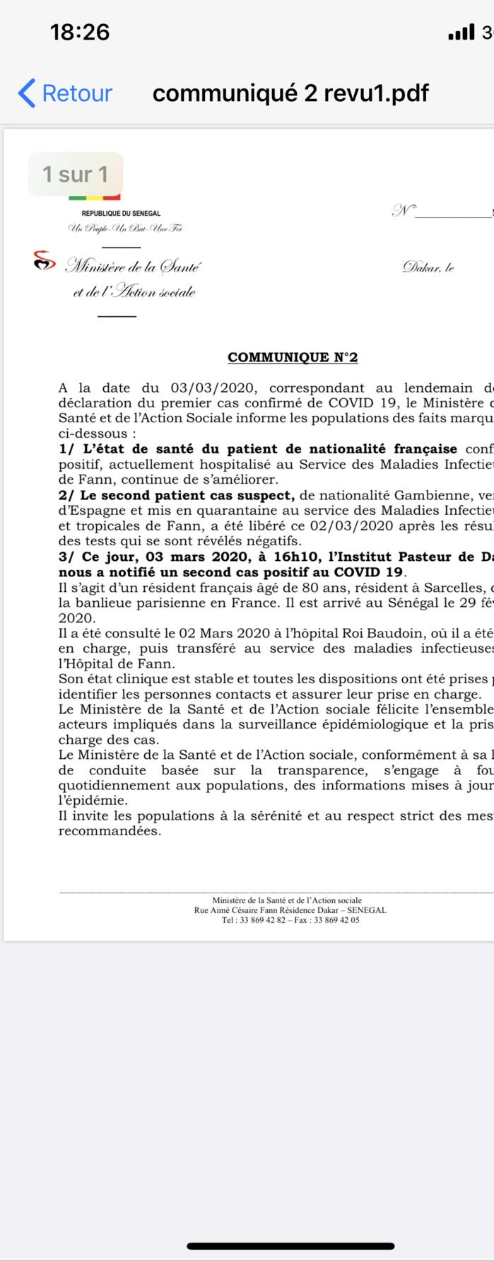 Abdoulaye Diouf Sarr, ministre de la Santé: L'épouse et les enfants du «cas 0» testés négatifs