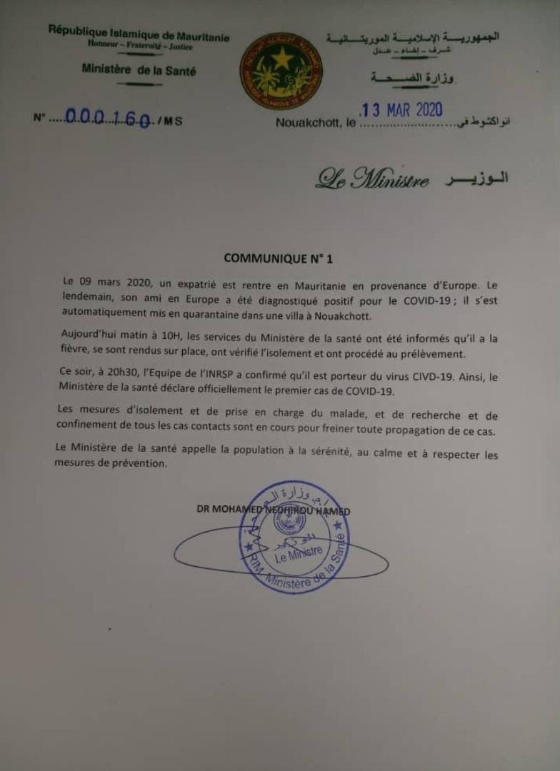 Coronavirus: La Mauritanie également touchée