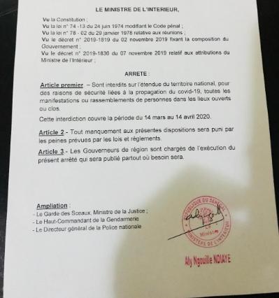 Mesure: Arrêté portant interdiction provisoire de manifestations ou rassemblements