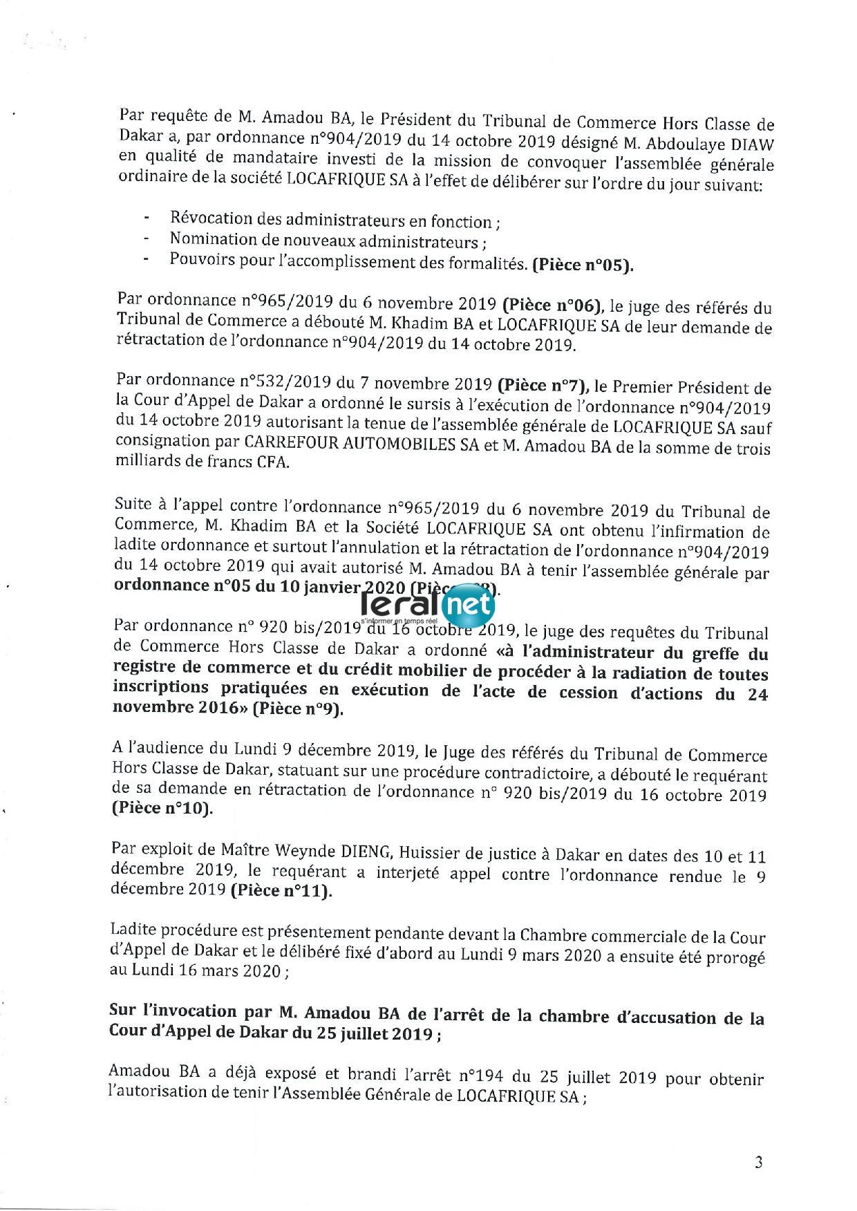 Gros scandale à la SAR entre le PCA, le DG et Amadou Bâ