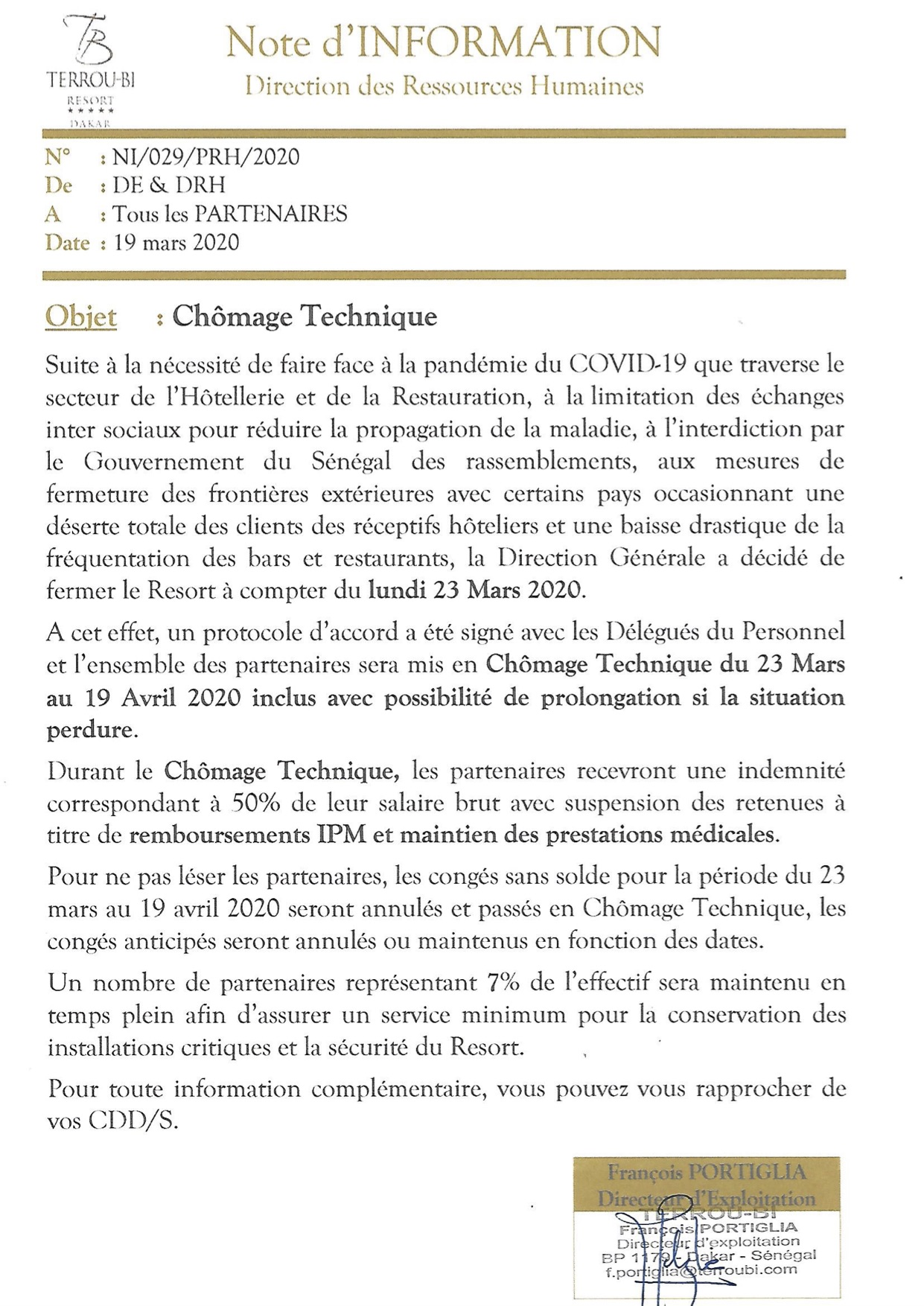 Chômage technique: L'hôtel Terrou-Bi libère quelques employés temporairement (François Portiglia, Directeur d'exploitation )
