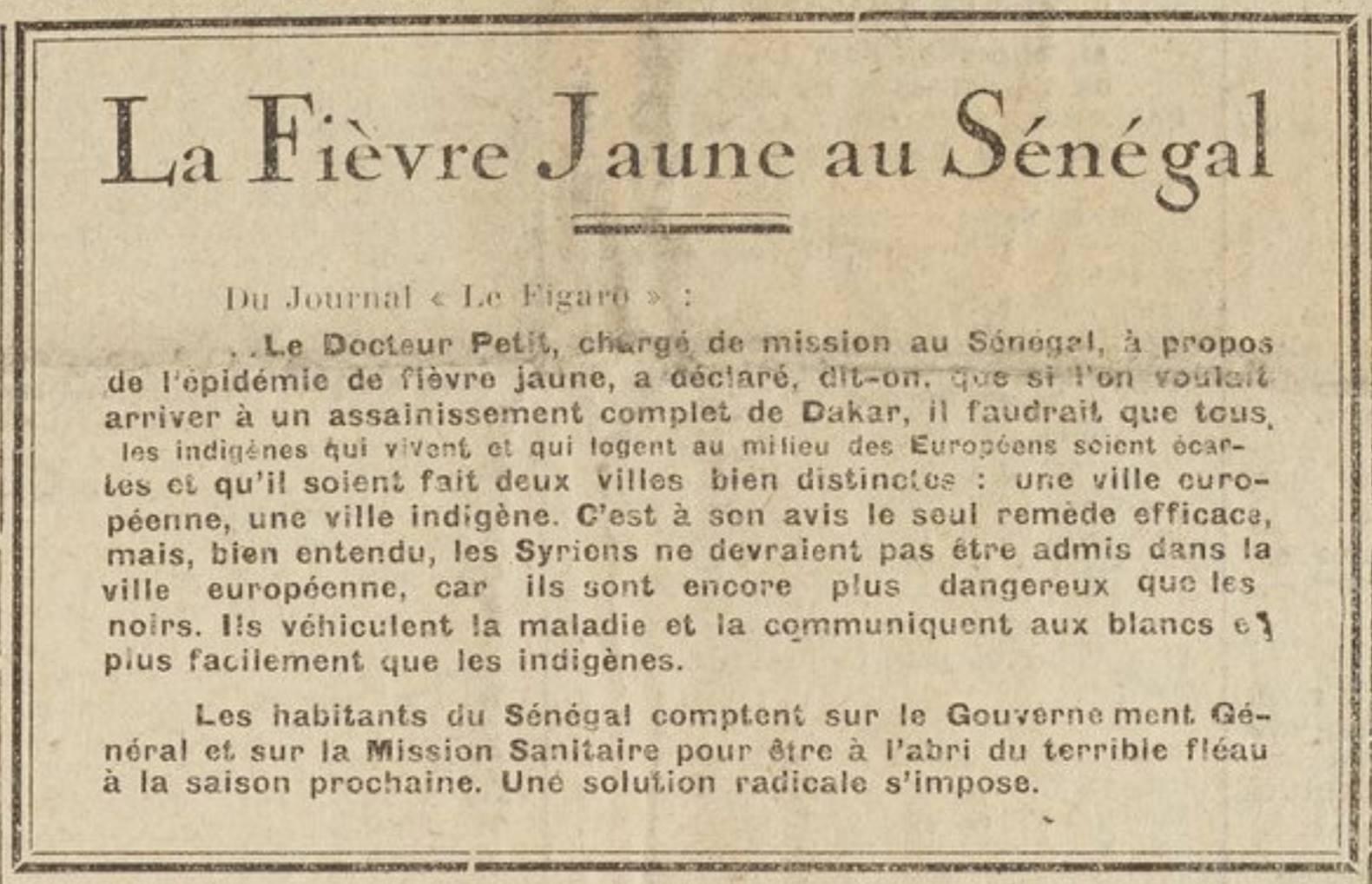 Un apartheid sanitaire au Sénégal ( 1928 )