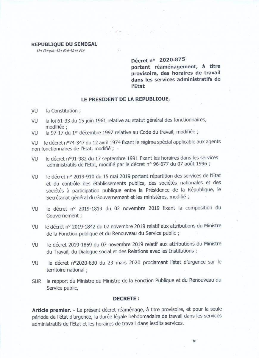 Administration sénégalaise: Le décret sur le changement des horaires
