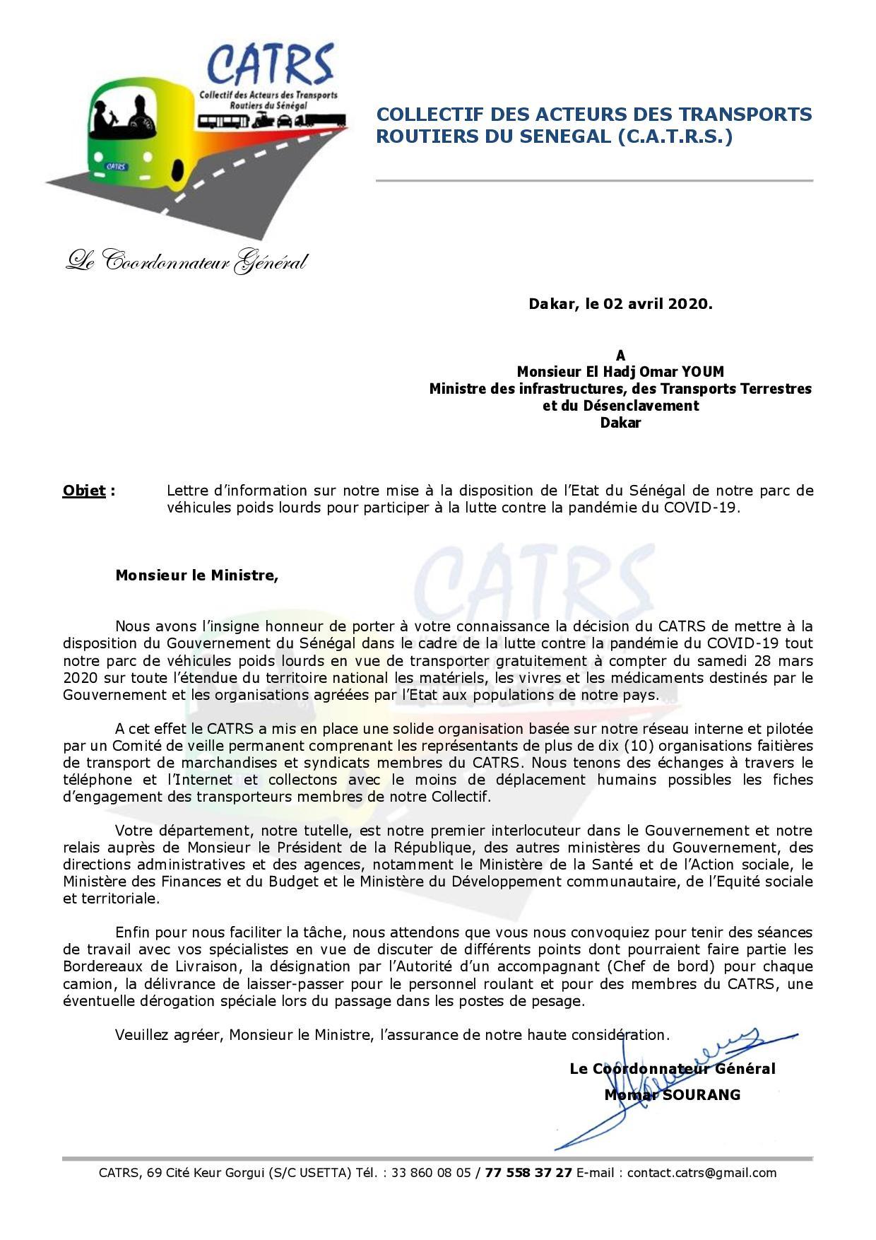 Covid 19- Transport des vivres : L'Etat refuse la gratuité du CATRS et contracte avec le privé à coup de milliards de FCfa