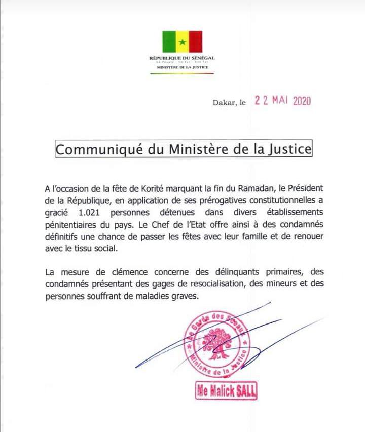 Korité: Le Président Macky Sall gracie 1021 détenus