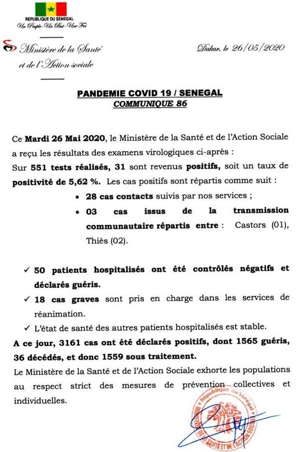 Infos sur la COVID-19: 551 tests, 31 positifs, 50 patients guéris ce mardi 26 mai 2020 20