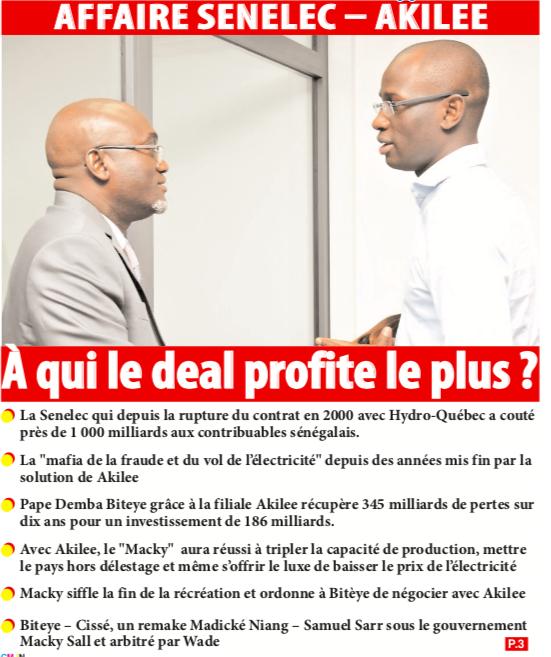 AFFAIRE SENELEC – AKILEE: À qui le deal profite le plus ?