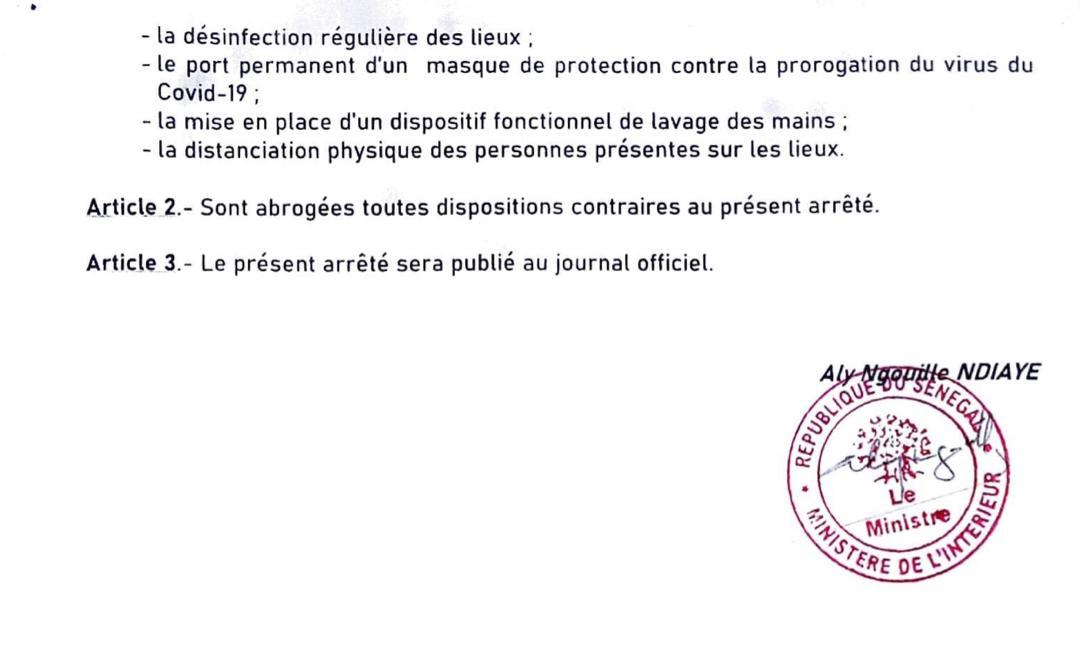 Levée des restrictions : Les arrêtés signés