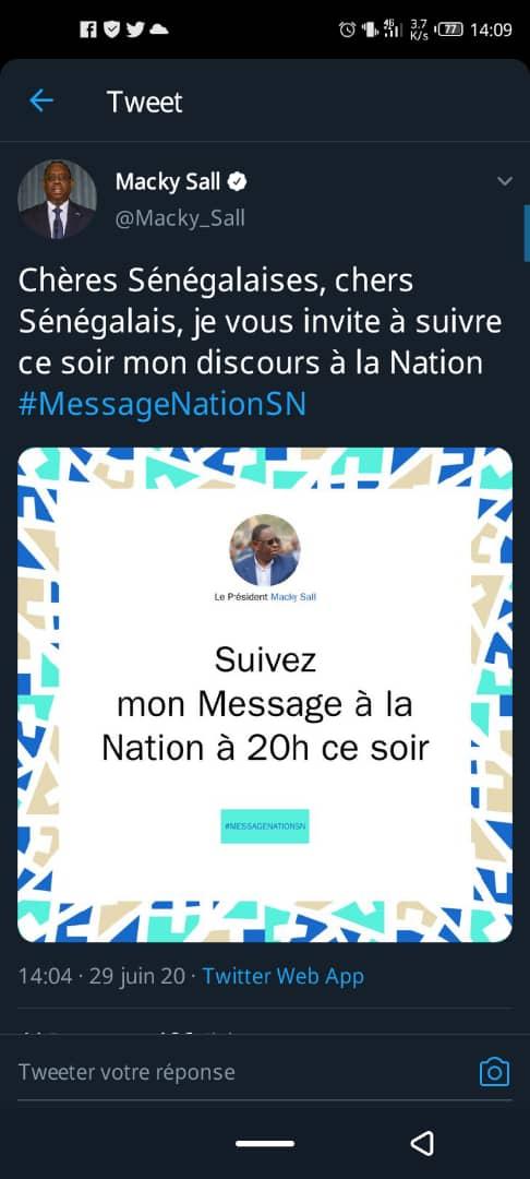 Message à la Nation: Macky Sall fera un discours à 20h