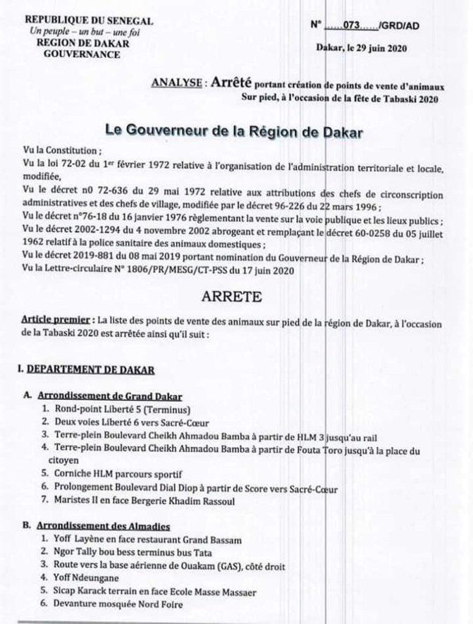 Tabaski: Les points de vente de moutons autorisés par le gouverneur de Dakar connus!