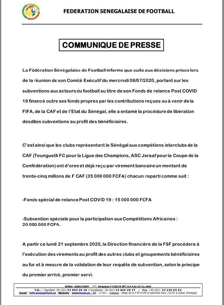 Subventions: Jaraaf et Teungueth Fc empochent 70 millions FCfa