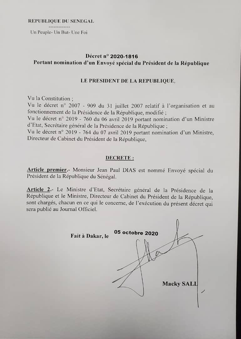 Nomination - Jean Paul Dias nouvel envoyé spécial de Macky Sall (Document)