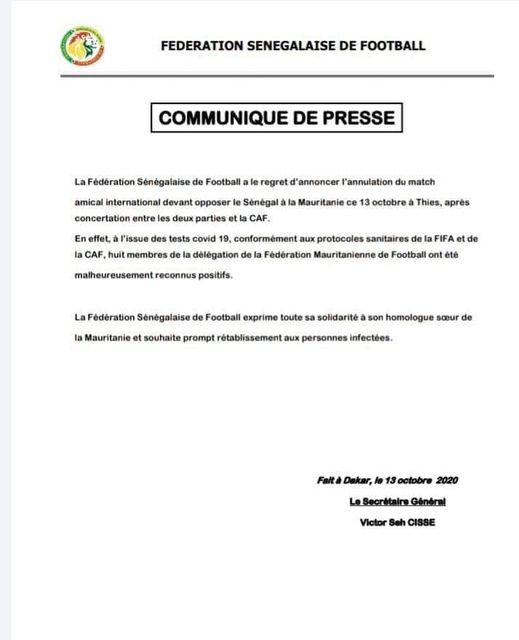 Le match Sénégal-Mauritanie annulé