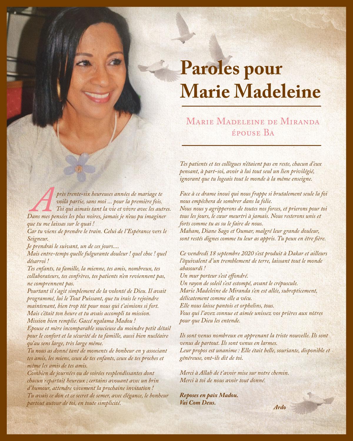 Paroles pour Marie Madeleine: Après 36 heureuses années, te voila partie... sans moi... - Ardo