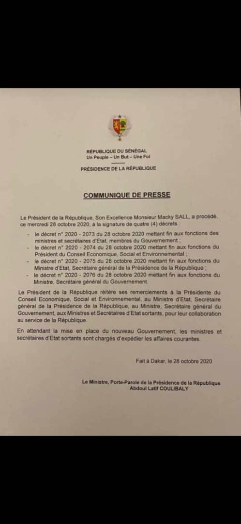 Communiqué de presse de la dissolution du gouvernement